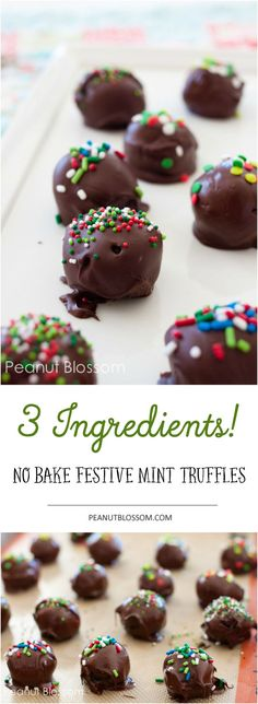 Love this easy no bake chocolate mint truffles recipe for the holidays! Only 3 ingredients and the perfect cookie to bring to your cookie exchange. Let the kids help, they'll love rolling the balls!