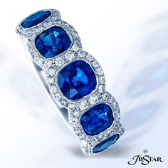 Style 1540 Sapphire and diamond band handcrafted with 5 perfectly matched, bezel-set, cushion-cut blue sapphires, each encircled with diamond pave and set in platinum.