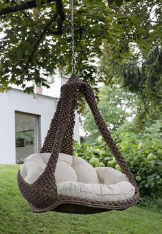 """Hammock chair Nido xl from Jobek - Image Hängesessel """"Nido xl"""" von Jobek – Bild 15 Hammock chair – with and without frame Outdoor Porch Bed, Porch Swing, Porch Furniture, Furniture Design, Furniture Movers, Backyard Hammock, Swinging Chair, Hanging Hammock Chair, Hanging Chairs"""