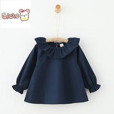 Cicie 2016 Otoño muchachas de la camisa blusas y camisas de Manga Larga blusa de las muchachas collar de Loto niñas blusa diseños Muchacha de los cabritos Tops