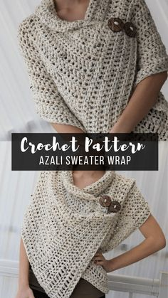 My Favorite Crochet Sweater Wrap Pattern - Crazy for Crochet Then we are here with 18 best and easy DIY knitting ideas. If you are good in knitting you must try these new patterns at home or gifts these to your family and friends.Free crochet pattern for Pull Crochet, Crochet Wrap Pattern, Mode Crochet, Easy Crochet Patterns, Crochet Stitches, Crochet Sweater Patterns, Crochet Wraps, Cowl Patterns, Easy Patterns