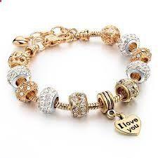 Women #HeartCharmBracelets Snake Chain Gold Plated Bracelets Bangles Jewelry