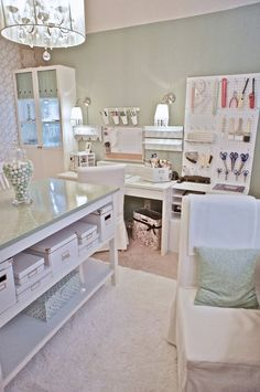 Beautiful & well organized home office and craft room.