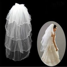 CIMC LLC Cathedral Waltz 4 Layer Bridal Veil Lace Voile Party Wedding Dress Accessories Headwear (milky) * For more information, visit image link.
