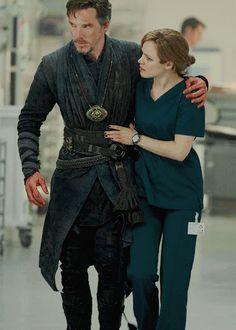 Benedict Cumberbatch & Rachel McAdams as Dr. Stephen Strange & Dr. Christine Palmer in Marvel's Doctor Strange, 2016