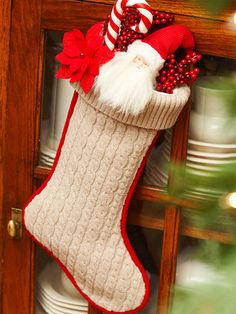 Cable-Knit Christmas Stocking  - make it from an old schweater!!!  love it - crochet an edging around it too.  Come on, get creative!