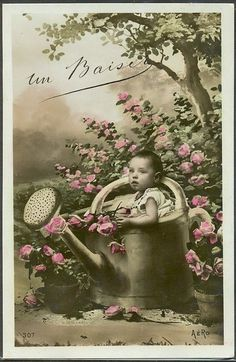 HW111 SURREALISM Bébé ARROSOIR BABY WATERING CAN ROSES Tinted PHOTO MONTAGE pc
