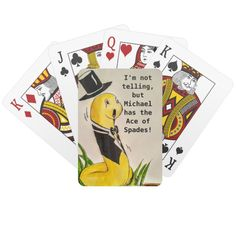 "Shop Funny Customizable Spiffy ""I'm not telling."" Playing Cards created by A_New_View. Ace Of Spades, Funny Gags, Animal Skulls, Gag Gifts, Cool Suits, Cartoon Characters, Gifts For Kids, Personalized Gifts, Birthday Gifts"