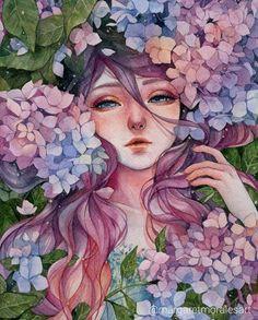 Ideas For Watercolor Art Anime Beautiful Art Anime, Anime Kunst, Art And Illustration, Fantasy Kunst, Fantasy Art, Watercolor Portraits, Watercolor Art, Nature Artwork, Aesthetic Art