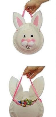 Panier lapin de Pâques en assiettes en carton Easter bunny basket with paper plates Preschool Crafts, Diy Crafts For Kids, Easter Crafts, Projects For Kids, Christmas Crafts, Paper Plate Crafts, Paper Plates, Spring Crafts, Easter Baskets