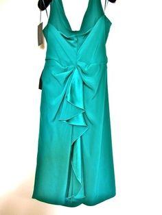 New Fab ALBERTA FERRETTI Emerald Green Halter Neck Silk Dress, sz IT44 #AlbertaFerretti #Cocktail