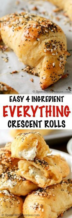4 Ingredient Everything Crescent Rolls take just 20 minutes! A flaky crust filled with warm herb & garlic cream cheese and an Everything Bagel topping!!
