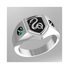 Harry Potter Inspired Syltherin House Ring ❤ liked on Polyvore featuring jewelry, rings, harry potter, silver jewellery, green ring, green silver ring, green jewelry and silver rings