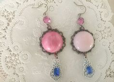 poofassembled repurposed upcycled pink dome cabochon by Arey