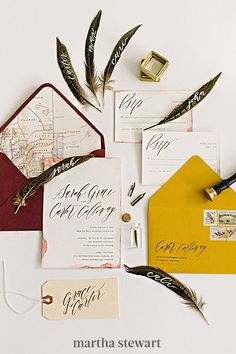 This suite's colorway is decidedly seasonal, but the real standout element? Flourished calligraphy. The free-flowing text added to the laid-back aesthetic of the whole Saffron Avenue suite. #weddingideas #wedding #marthstewartwedding #weddingplanning #weddingchecklist Fall Wedding Invitations, Wedding Stationary, Autumn Inspiration, Wedding Inspiration, Flourish Calligraphy, Boat Wedding, Modern Romance, Bohemian Bride, Papers Co