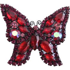 Vintage Unsigned Weiss Japanned Red Rhinestone Butterfly Pin Brooch