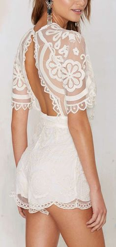 Love this lace Romper with the open back:)