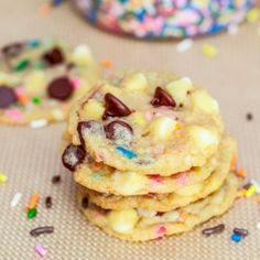 The easiest Cake Batter Chocolate Chip Cookies.