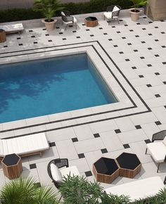 On the hunt for patio slabs? Our Blu Grande Smooth textured slabs provide a modern yet eternal look for your backyard. Swiming Pool, Swimming Pools Backyard, Swimming Pool Designs, Pool Decks, Backyard Landscaping, Patio Slabs, Concrete Patio, Patio Stone, Ocean Texture