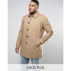ASOS PLUS Single Breasted Trench Coat With Shower Resistance in Stone (145 SAR) ❤ liked on Polyvore featuring men's fashion, men's clothing, men's outerwear, men's coats, beige, tall mens coats, mens single breasted trench coat, asos mens coats, mens single breasted pea coat and mens trench coat