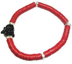 Red African Vinyl Disc Buddha Bracelet
