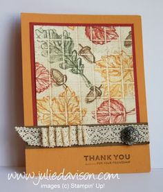 Julie's Stamping Spot -- Stampin' Up! Project Ideas by Julie Davison: Gently Falling Collage Faux Tile Card