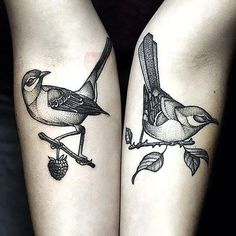 It's a great choose for pair tattoos. Elegant and neat mockingbirds.