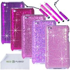 ECO-FUSED® 12 pieces Bling Glitter Sparkle Hard Cover Case Bundle for Apple Ipod touch 4 4G 4th /5 Sparkle Hard Cover Cases (Dark Purple/Purple/Hot Pink/Pink/Light Pink)/4 Stylus (Hot Pink/Purple)/2 Screen Protectors - ECO-FUSED® Microfiber Cleaning Cloth included by ECO-FUSED®, http://www.amazon.com/dp/B00ANYEH16/ref=cm_sw_r_pi_dp_1GRKrb1BJYMGS