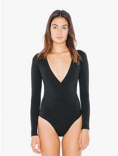 Cotton Spandex Cross V Bodysuit   American Apparel   @giftryapp