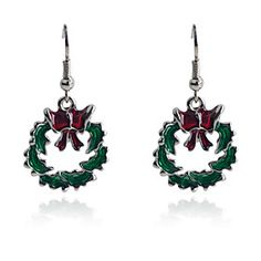 European Style Sweet Bowknot Circle Oil Drip  #Christmas Earrings