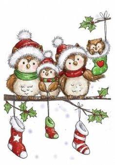 NEW Wild Rose Studio 'Owl Family' Clear Stamp. This cute little stamp is a hoot! Its perfect for making adorable Christmas cards. Christmas Rock, Christmas Drawing, Christmas Paintings, Christmas Clipart, Christmas Animals, Christmas Images, Family Christmas, Vintage Christmas, Christmas Crafts