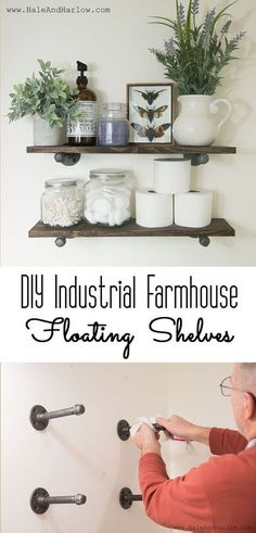 DIY Industrial Farmhouse Floating Shelves - Awesome Tutorial. Can't wait to put one in the bathroom.