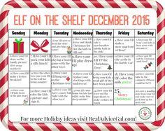 Elf on the shelf calendar - ideas for December