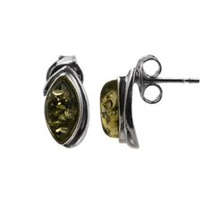 Sterling Silver Green Amber Marquise Shape Classic Stud Earrings