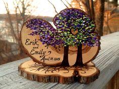 custom colors hand painted wood slice wedding by JenniferLenoxVT More