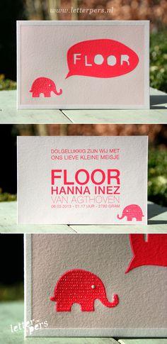 letterpers_letterpress_geboortekaartje_Floor_olifantje_neon_pastel_roze_ballon