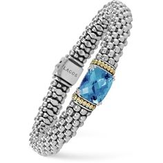 Lagos 18K Gold and Sterling Silver Prism Blue Topaz Rope Bracelet, 9mm ($935) ❤ liked on Polyvore featuring jewelry, bracelets, blue topaz, rope bracelet, yellow gold jewelry, 18k gold bangles, 18 karat gold bangles and sterling silver jewelry