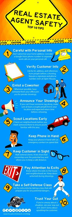 Real Estate Agent Safety.  Be safe when showing homes to strangers.  Take these precautions.  #Real Estate  #Realtors  #Safety  #ShowingHomes  www.EyemarkRealty.com