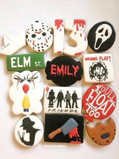 Scary Halloween Cookies, Halloween Cookies Decorated, Halloween Snacks, Halloween Treats, Halloween Fun, Iced Cookies, Royal Icing Cookies, Fun Cookies, Birthday Cookies