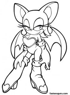 Printable Sonic the Hedgehog Rouge Coloring pages for girls - Printable Coloring Pages For Kids Bat Coloring Pages, Online Coloring Pages, Coloring Pages For Girls, Free Printable Coloring Pages, Coloring For Kids, Coloring Sheets, Coloring Books, Silver The Hedgehog, Shadow The Hedgehog