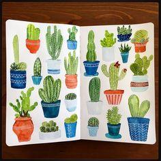 """Cactus • #cbdrawaday • Day 21 This one was fun. #creativebug #lisacongdon #cactus #cacti #drawing #illustration #painting #sketch #sketchbook #moleskine…"""