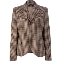 RALPH LAUREN BLUE LABEL CHECKED BLAZER JACKET (32.615 RUB) ❤ liked on Polyvore featuring outerwear, jackets, blazers, coats, jackets & blazers, brown wool blazer, button up jacket, long sleeve blazer, checked jacket and short wool jacket
