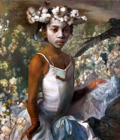 """""""And the Cotton is High"""" - Margaret Bowland (b. oil on linen, 2011 {contemporary artist female child head art torso black African-American girl face figurative portrait painting art} African American Girl, American Art, Black Women Art, Black Art, Street Art, Afro Art, Art Studios, Figurative Art, Female Art"""