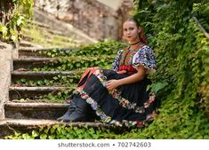 Slovakian folklore. Traditional costume. Model Release, Photo Editing, Royalty Free Stock Photos, Long Skirts, Costumes, Traditional, Illustration, Pictures, Image
