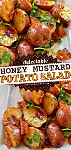 A warm potato side dish for easy meals! This tasty dinner recipe for family will find its way to your menu. Tossed in a honey mustard vinaigrette with bacon and parsley, this roasted red potato salad is delicious! Potato Side Dishes, Side Dishes Easy, Honey Mustard Vinaigrette, Delicious Dinner Recipes, Family Meals, Potato Salad, Bacon, Easy Meals, Dinner This Week
