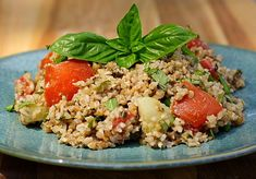 Bulgar Pesto Salad, AKA Pesto Tabouli - this is pretty good! yummy - substitute with almost any nut. so good