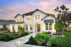 Browse dozens of floor plans and choose from hundreds of design options in a Drees custom home in the Austin area. White Farmhouse Exterior, Open Living Area, Custom Built Homes, Two Story Homes, Open Layout, House Floor Plans, Game Room, Family Room, New Homes