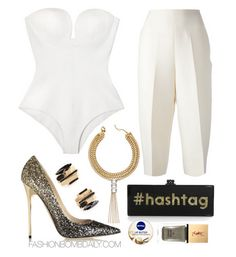 What to Wear Cocktails With Claire Shakuhachi White Bustier Onesie ValentinoTailored Culottes Jimmy Choo Anouk Degrade Glitter-Finished Leather Pumps Edie Parker Flavia Glittered Hashtag Acrylic Clutch