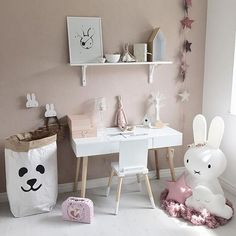 Such a cute room and gorgeous wall colour