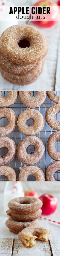 Apple Cider Donuts - These donuts scream fall! Donuts made with a homemade apple sauce are dipped in an apple cider glaze and cinnamon sugar for a treat that is a must-have for fall.: